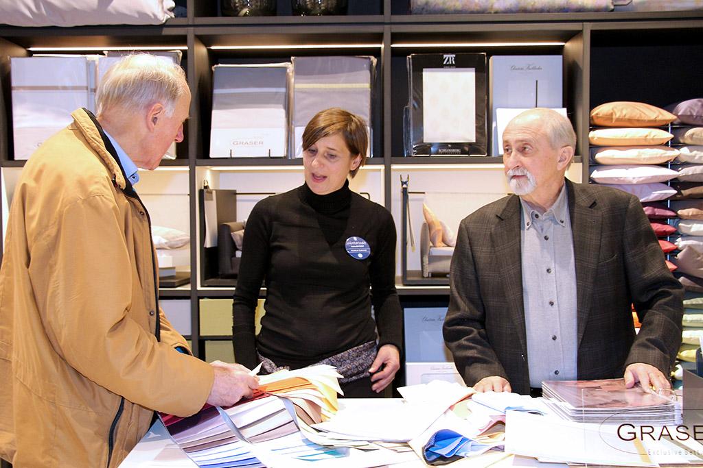 Textildesignerin Heidrun Schmidt und Rolf Graser von Graser Exclusive Bettwäsche