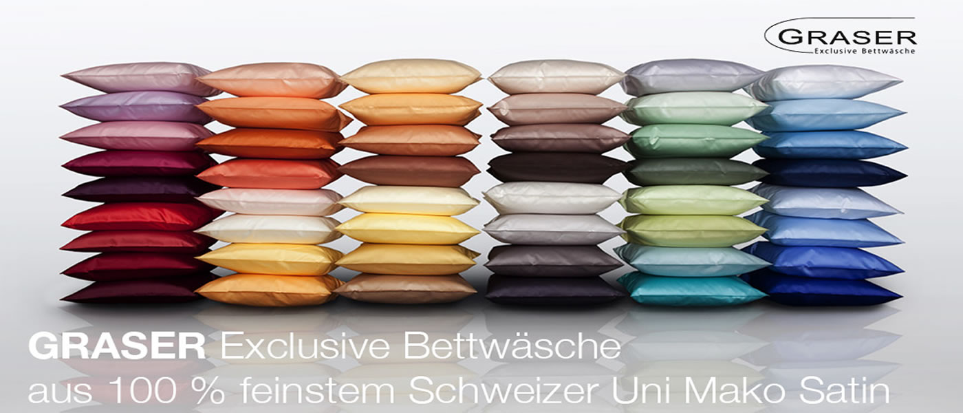 Schweizer Mako-Satin Unifarben Glatt Garnituren von Graser